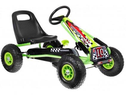 Dětská šlapací motokára s nafukovacími koly Formule 15 zelená