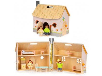 Ecotoys skladaci domecek pro panenky dreveny