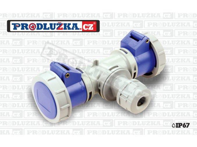 2x CEE zásuvka 230V/16A/3p-1x vývodka kabel (max 3x2,5mm) IP67