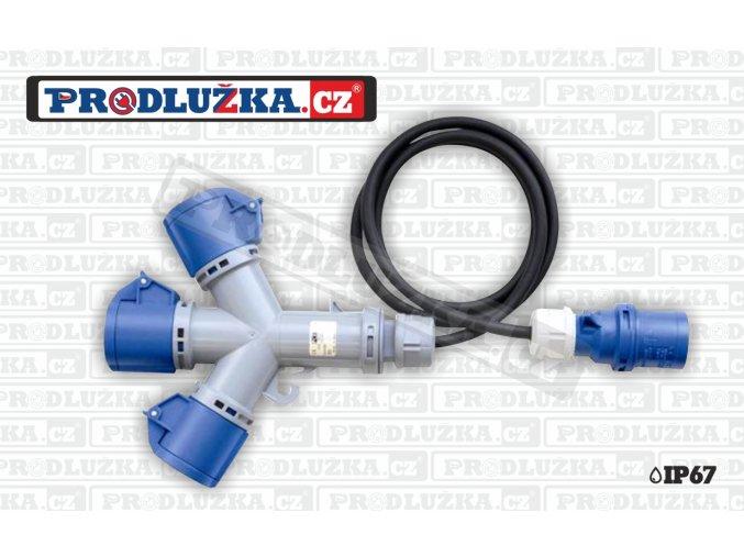 3x CEE zásuvka 230V/16A/3p-1x vidlice 1,5m 230V/16A/3p IP67