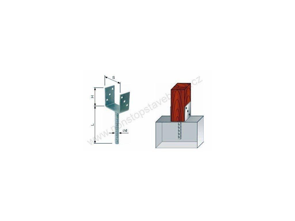 Nosník sloupu patka ocelová 101 x 100 x 200 mm W-PBR