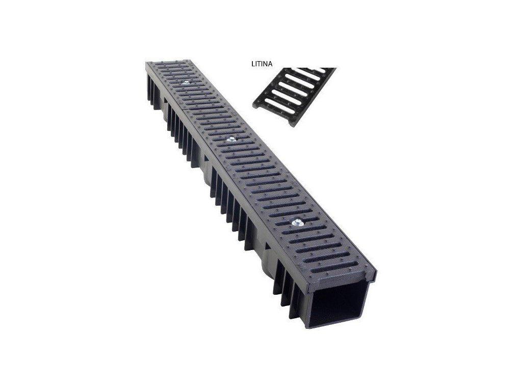 Odvodňovací žlab litinová mříž 12,5t (1000 x 130 x 105 mm)