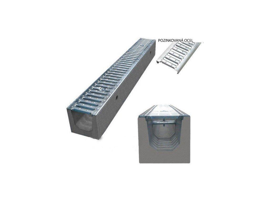 Odvodňovací žlab BETONOVÝ pozinkovaná mříž 1,5t (500x130x120)