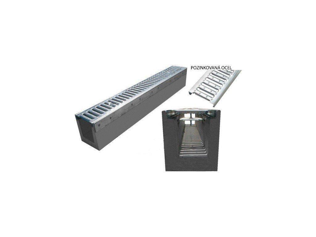 Odvodňovací žlab BETONOVÝ zesílený pozink 1,5t (1000x145x160)