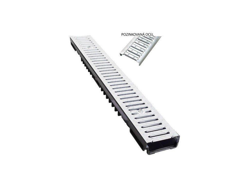Odvodňovací žlab pozinkovaná mříž 1,5t (1000x130x55)