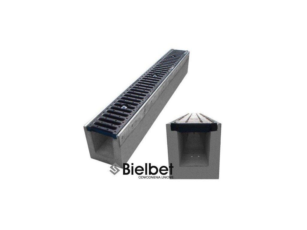 Odvodňovací žlab BETONOVÝ šedá litina 25t (1000x145x200)