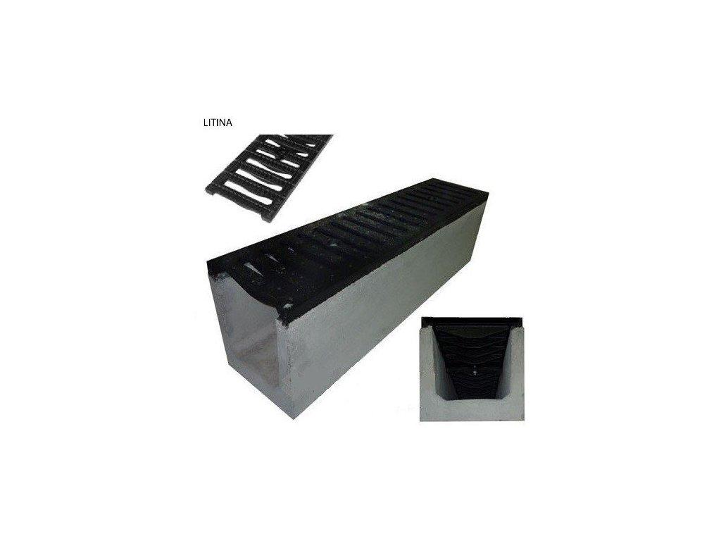 Odvodňovací žlab BETONOVÝ sféroidální litina 60t (1000x250x200)