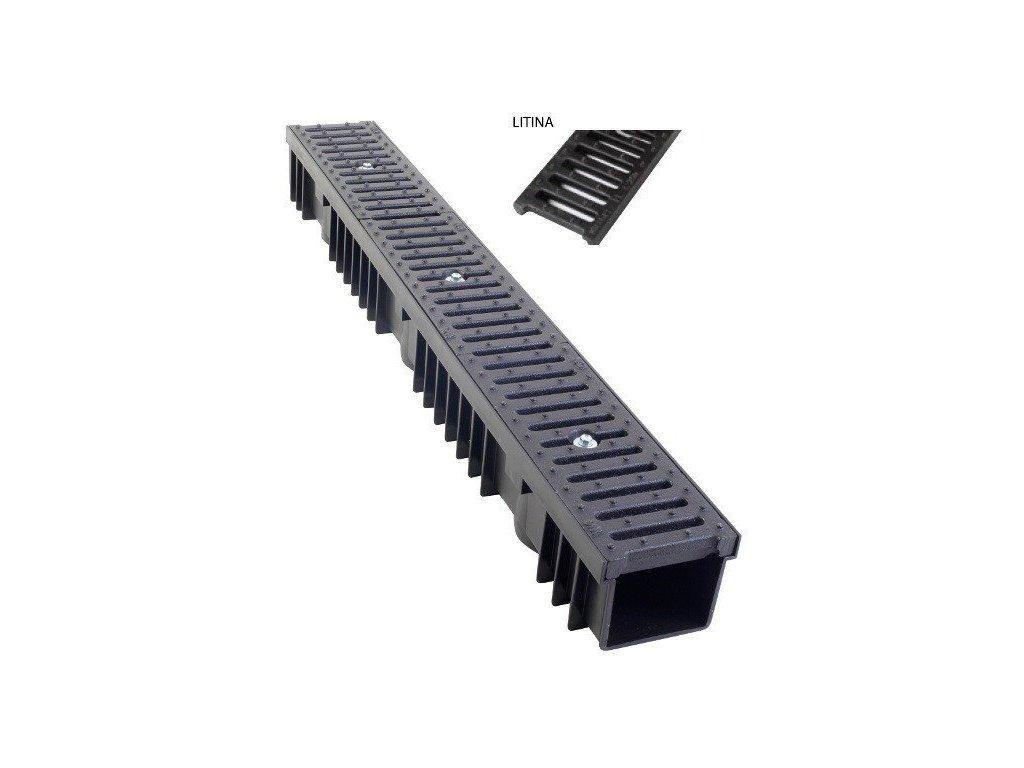 Odvodňovací žlab PVC litina 25t (1000x130x105)