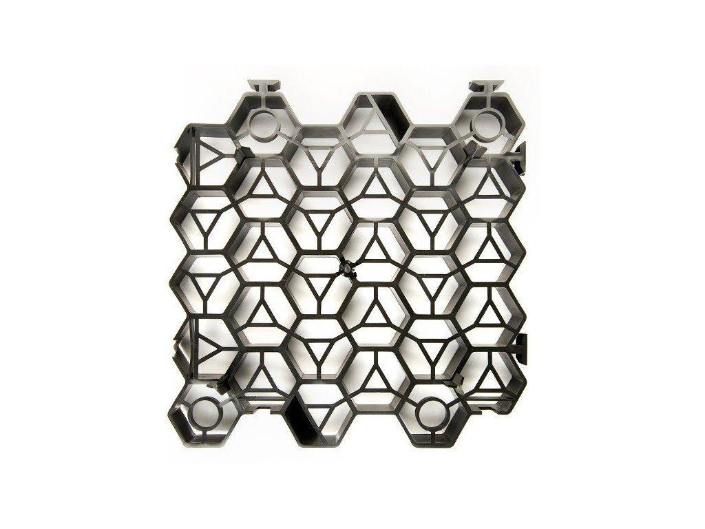 Zatravňovací dlažba plastová černá 33,8x33,5x7,5cm Extra Strong (260t/m2)