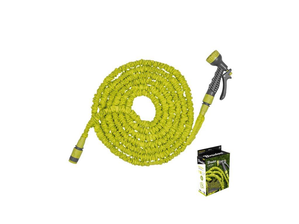 Stahovací hadice zahradní 5-15m s rozprašovačem + příslušenství ZELENÁ