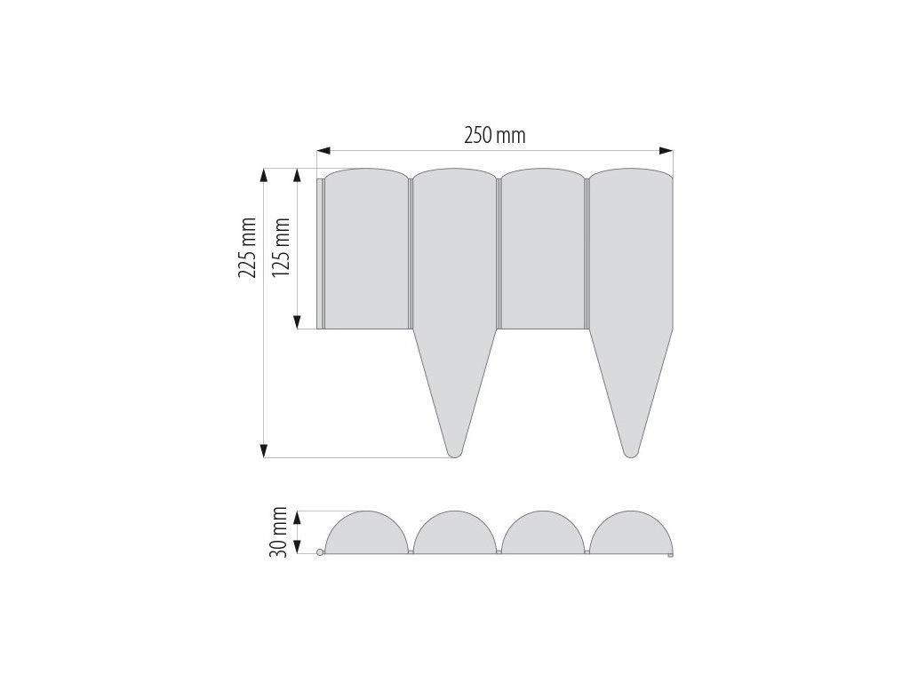 Plastový obrubník zahradní HNĚDÝ d.2,5m / v. 12,5cm palisáda