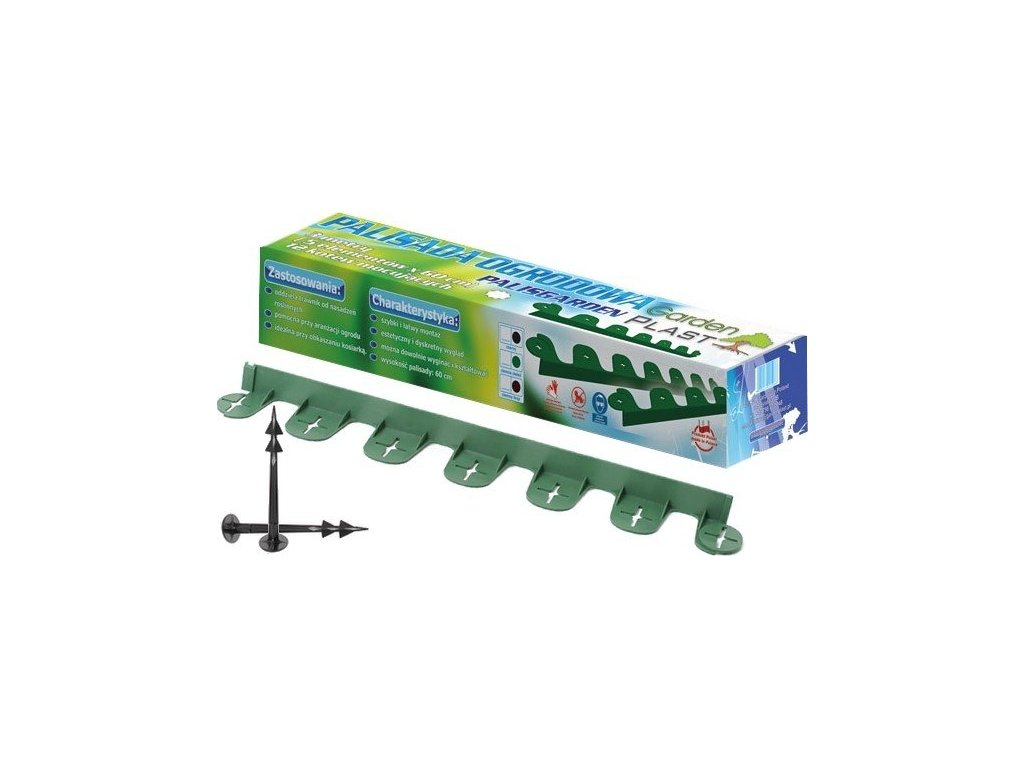 Plastový obrubník neviditelný Palisgarden zelený 38mm / 60cm + kolíky zdarma