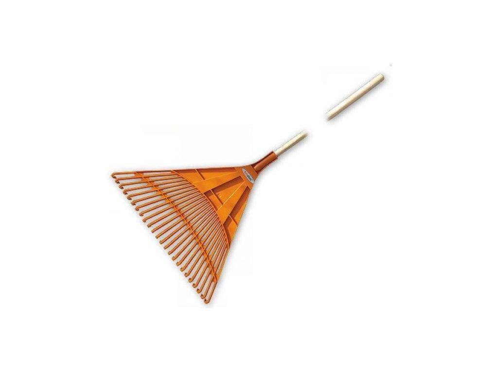 Plastové hrábě na listí s dřevěnou násadou (24hrotů)