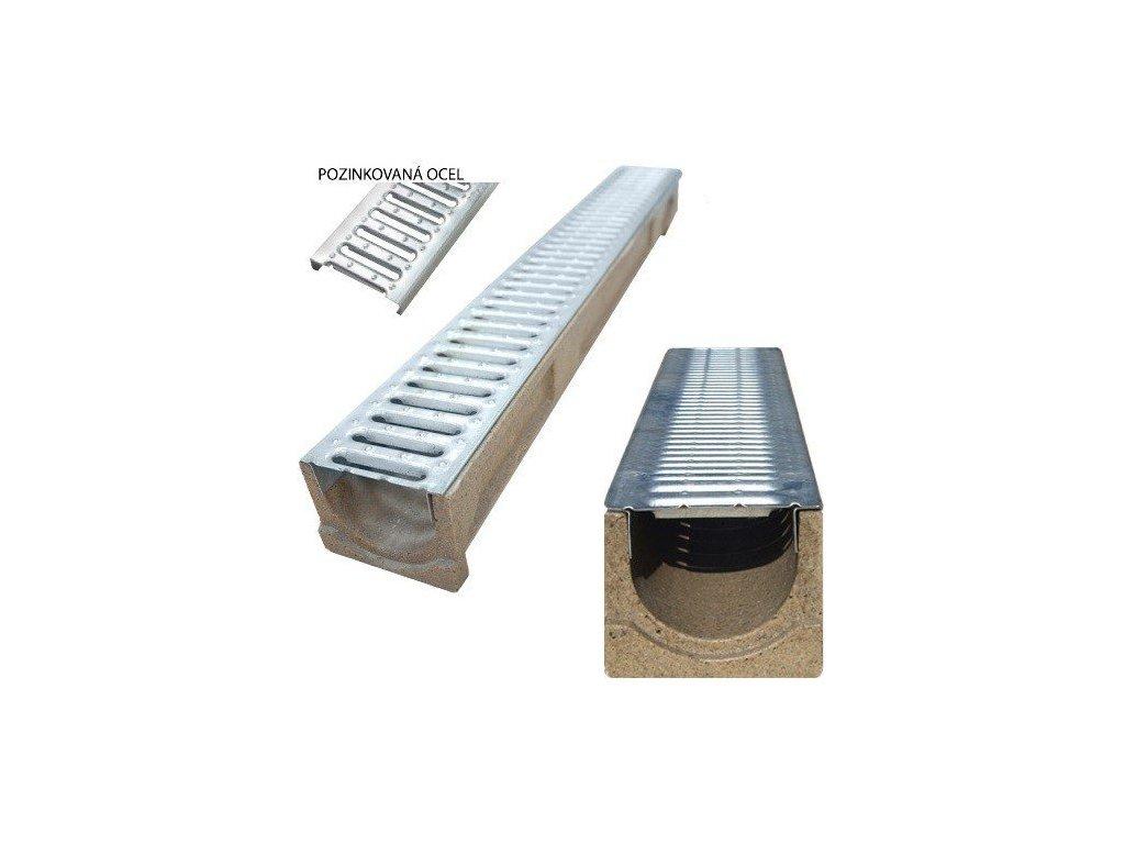 Odvodňovací žlab polymerbetonový 1,5t mříž pozinkovaná (1000x130x130)