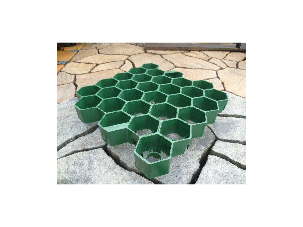 Zatravňovací dlažba plastová zelená 33,8x33,5x7,5cm Extra Strong (260t/m2)