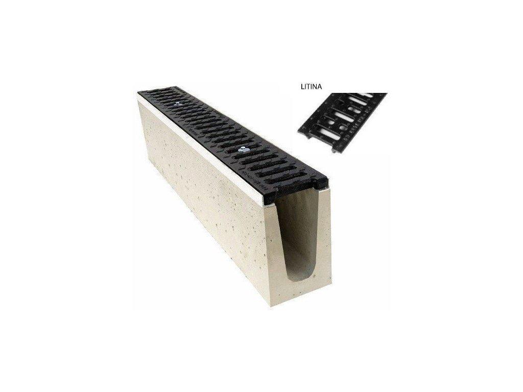 Odvodňovací žlab BETONOVÝ šedá litina 12,5t (1000x150x200)