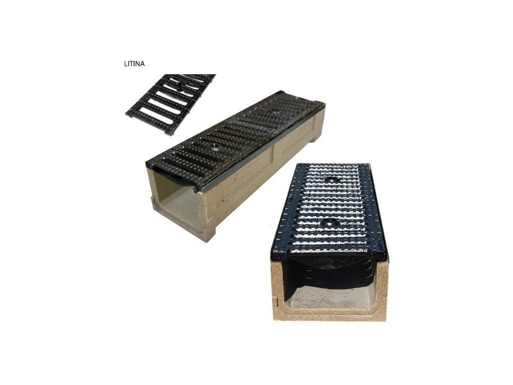 Odvodňovací žlab polymerbetonový 40t litinová mříž (1000x250x160)