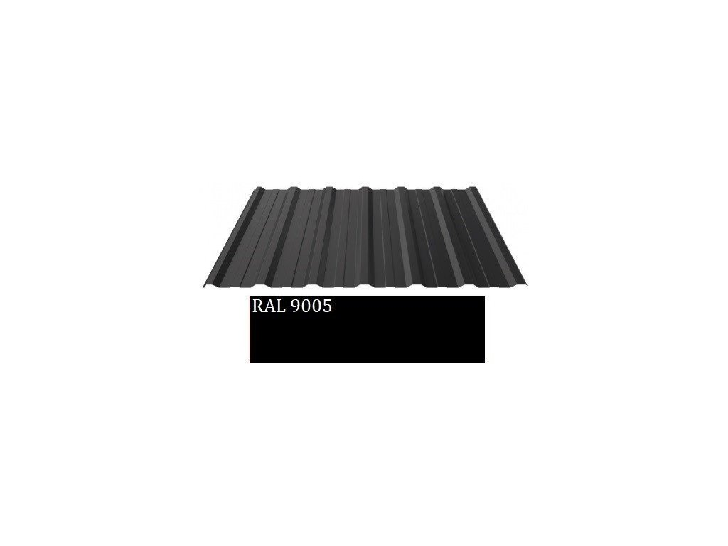 Plechová krytina trapézový plech Blacho TRAPÉZ T18 Plus 0,5 RAL 9005 1,5 m