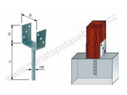 Nosník sloupu patka ocelová 121 x 100 x 200 mm W-PBR