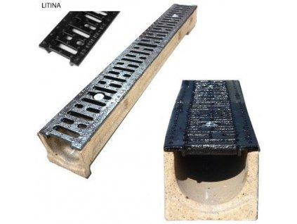 Odvodňovací žlab polymerbetonový 12,5t litinová mříž (1000x125x100)