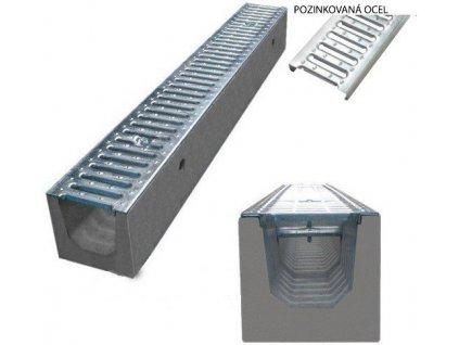 Odvodňovací žlab BETONOVÝ pozinkovaná mříž 1,5t (500x130x160)