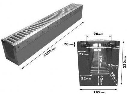 Odvodňovací žlab BETONOVÝ zesílený pozink 1,5t (1000x145x220)