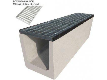 Odvodňovací žlab BETONOVÝ standardní rošt 1,5t (1000x250x300)