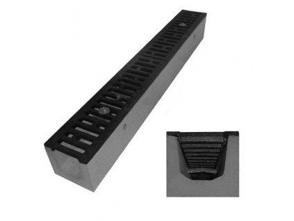 Odvodňovací žlab BETONOVÝ šedá litina 12,5t (1000x130x160)
