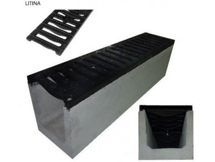Odvodňovací žlab BETONOVÝ šedá litina 40t (1000x250x300)
