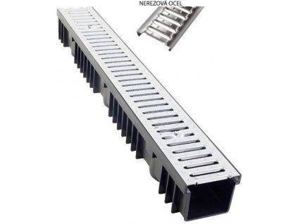Odvodňovací žlab PVC nerezový plech 1,5t (1000x130x105)