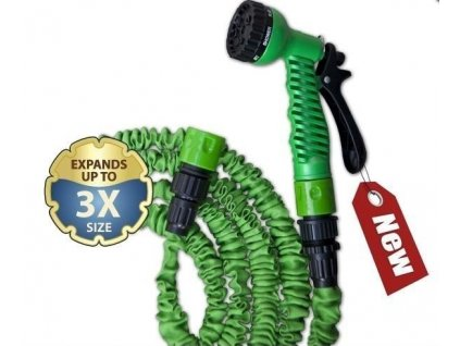 Stahovací hadice zahradní 7,5-22m s rozprašovačem + příslušenství ZELENÁ
