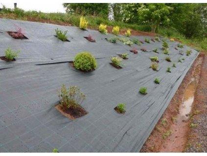 Tkaná textilie mulčovací s pruhy 0,4x100m (70g/m2)