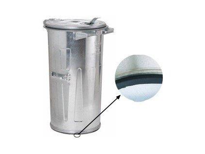 Kovová popelnice kulatá 110 litrů pozinkovaná