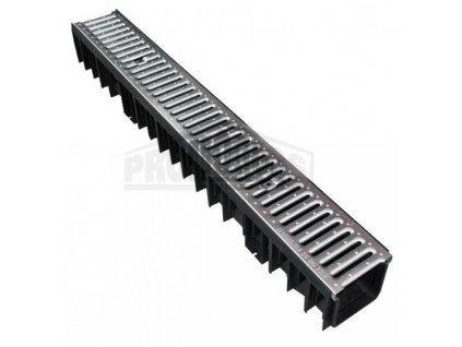 Odtokový žlab s pozinkovanou mříží 1,5t (130x105x1000mm) MasterPlast