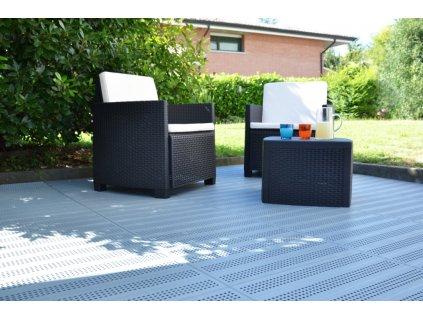 Plastová dlažba šedá tvárnice 60 x 60 x 3,3 cm Forata