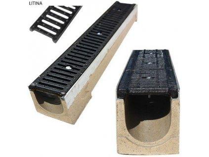 Odvodňovací žlab polymerbetonový 12,5t litinová mříž (1000x130x130)