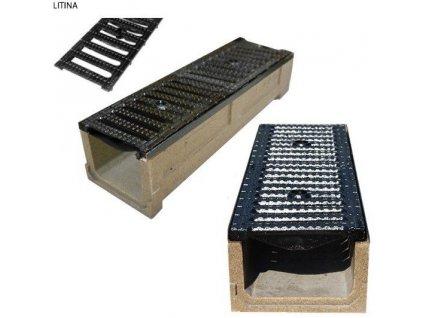 Odvodňovací žlab polymerbetonový 12,5t litinová mříž (1000x250x160)