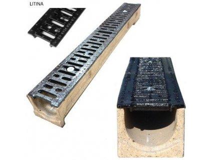 Odvodňovací žlab polymerbetonový 25t litinová mříž (1000x130x130)