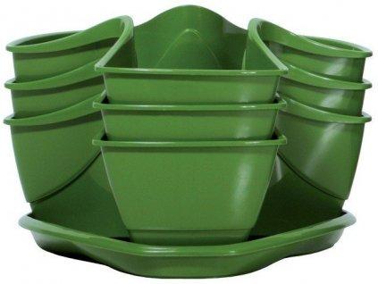 Bylinkové plastové květináče Coubi Herbal zelený