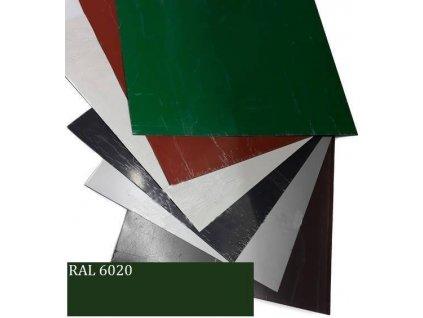 Rovinné plechy 0,5 tabule plechu 1,25 x 2 m RAL 6020 Blachotrapez