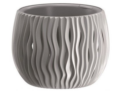 Plastové květináče Sandy Bowl šedý kámen Ø 37 cm