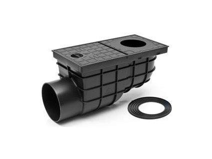 GEIGER suchý lapač splavenin s boční výpustí černá