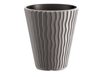 Plastové květináče Sandy šedý kámen Ø 29,7 cm