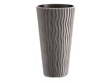 Plastové květináče Sandy Slim šedý kámen Ø 29,7 cm