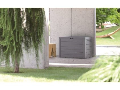 Zahradní box imitace dřeva Prosperplast Woodebox antracit 280 l
