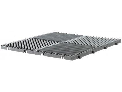 Plastová dlažba šedá 39,5 x 39,5 x 1,7 cm podlahová krytina Rombo.