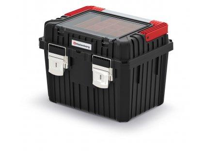 kufr na naradi s kov drzadlem a zamky heavy cerny 445x360x337