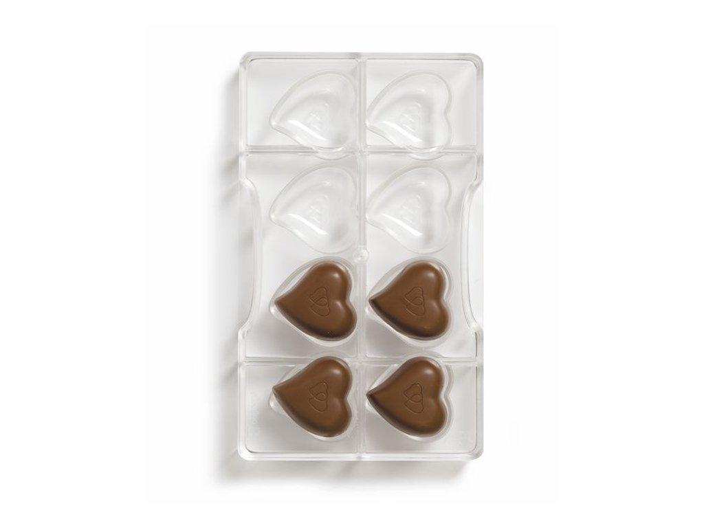 Forma polykarbonátová na čokolády srdce