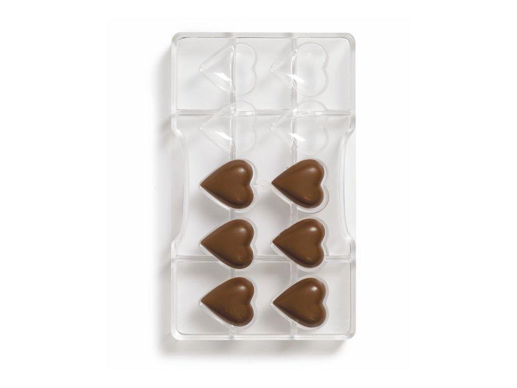 Forma polykarbonátová na mini čokolády srdce10