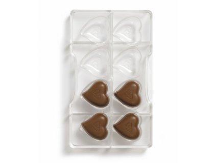 Forma polykarbonátová na čokolády srdce8
